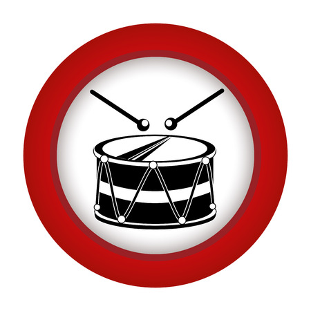 red circle with drum and drum stick vector illustration Illustration