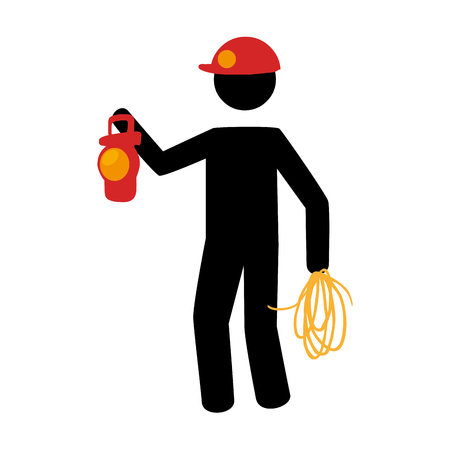 pictogram silhouette with miner with flashlight vector illustration