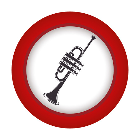 cornet: red circle with gray trumpet vector illustration