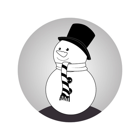 sphere with monochrome snowman with scarf vector illustration