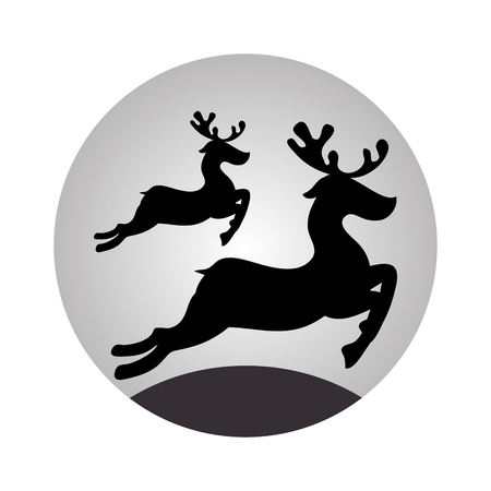sphere with monochrome reindeer jumping vector illustration Illustration