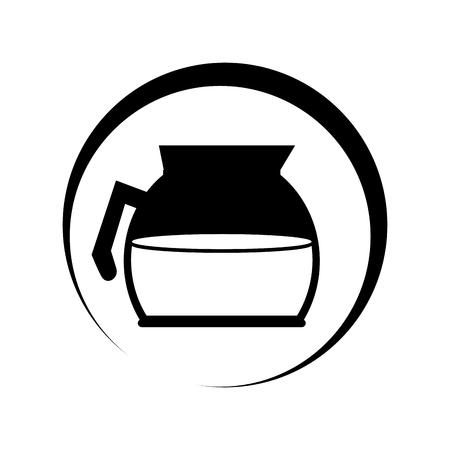monochrome circular frame with coffee glass jar vector illustration