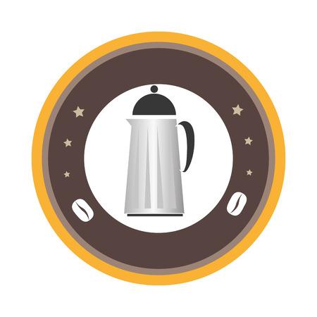 circular emblem with coffee jar vector illustration
