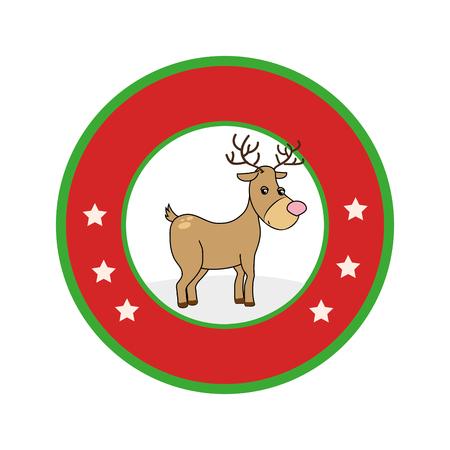 color circular frame with reindeer vector illustration