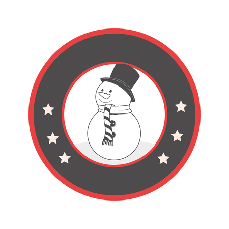 circular emblem with grayscale snowman vector illustration Illustration