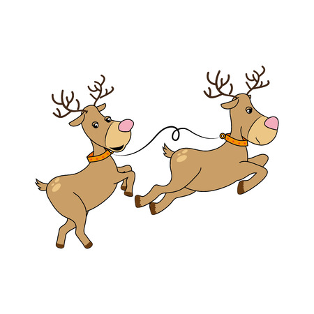 color silhouette with reindeers couple vector illustration Illustration