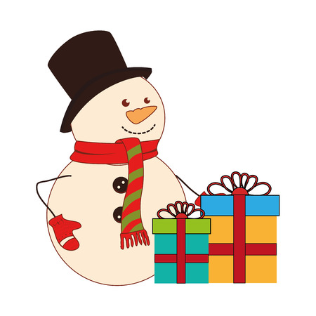 color silhouette with snowman and gift boxes vector illustration
