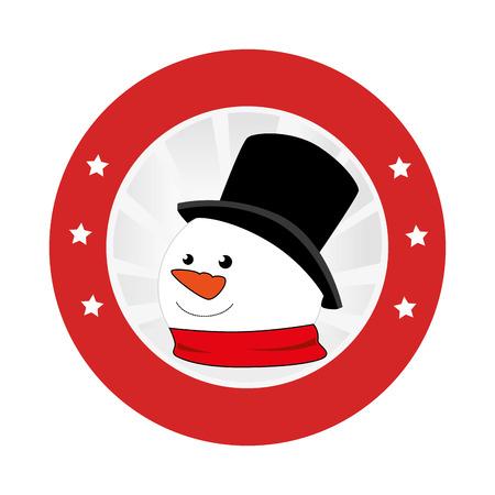 circular emblem with snowman face vector illustration