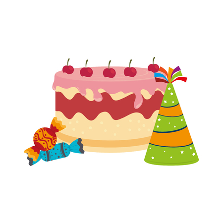 colorful picture cake and candies with hat party vector illustration