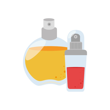 set collection glass bottle spray fragrance vector illustration Illustration
