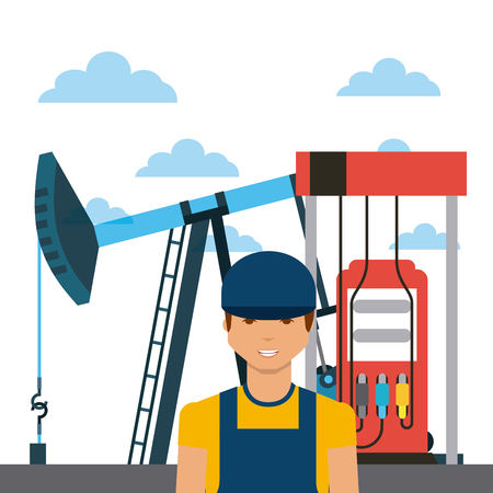 oil industry rig, gasoline pump and man cartoon icon over white background. colorful design. vector illustration Illustration