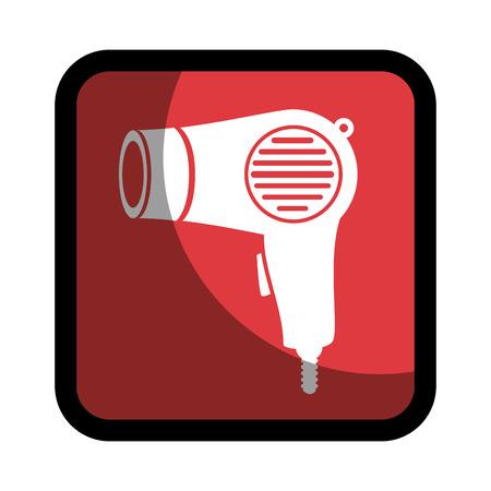 hairdryer: square button hairdryer utensil hairstyle vector illustration Illustration