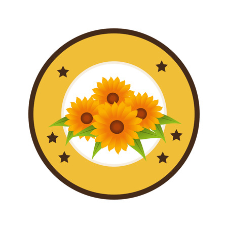 colorful circular border with sunflowers and decorative stars vector illustration