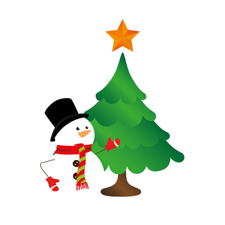 color silhouette with snowman and christmas tree vector illustration Illustration