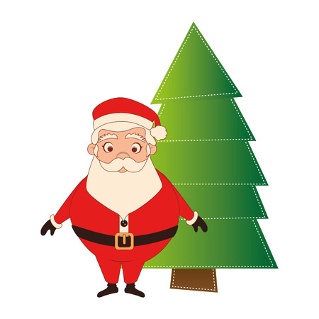 color silhouette with santa claus and christmas tree vector illustration