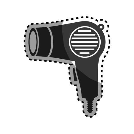 hairdryer: monochrome sticker hairdryer utensil hairstyle vector illustration
