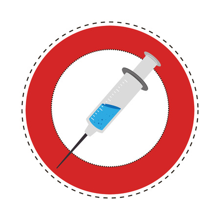 sticker circular border with Needle syringe with liquid and inchs vector illustration Illustration
