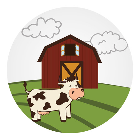 barn wood: circular landscape with barn and cow vector illustration Illustration