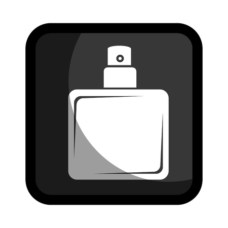 square button with glass bottle spray lotion vector illustration