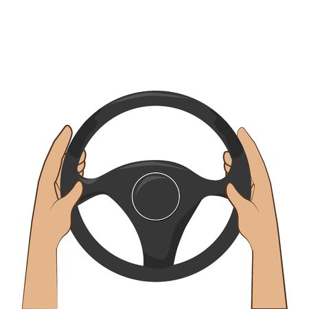 colorful hands with steering wheel vector illustration