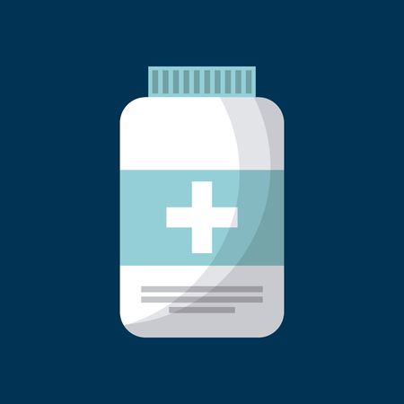 firstaid: medicine bottle icon over blue background. colorful design. vector illustration