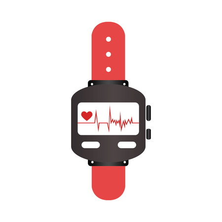 heart intelligence: colorful watch with screen Heartbeat monitoring vector illustration Illustration