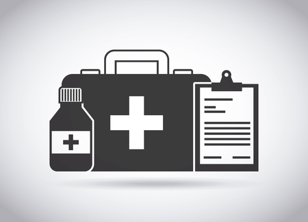 firstaid: first aid briefcase and medicine bottle over white background. vector illustration Illustration
