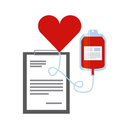 ホワイト バック グラウンド レポート テーブルが付いて血液バッグとハート アイコン。寄付血の概念。カラフルなデザイン。ベクトル図