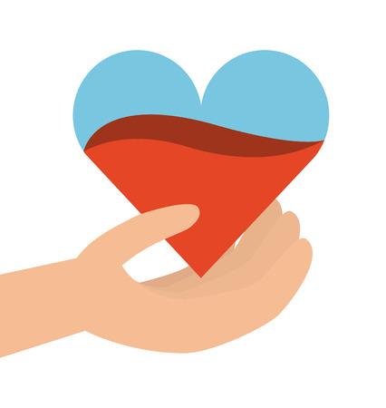 main tenant un coeur de sang sur fond blanc. concept de sang de don. design coloré. illustration vectorielle