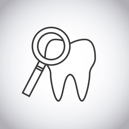 doctor examine: tooth and magnifying glass icon over white background. vector illustration Illustration