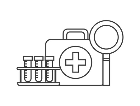 firstaid: first aid briefcase, medical tubes and magnifying glass over white background. vector illustration