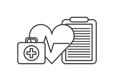 heart cardio, first aid briefcase and medical report over white background. vector illustration Ilustração