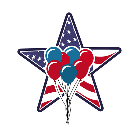 star with usa country flag and balloons over white background. colorful design. vector illustration