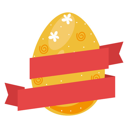 colorful Easter eggs icon design with ribbon tape vector illustration Illusztráció