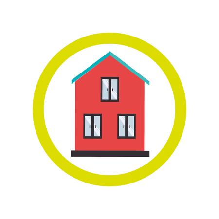 facade and house: circular border with silhouette facade house vector illustration