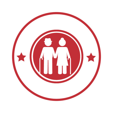gerontology: circular border with pictogram elderly couple with walking stick vector illustration