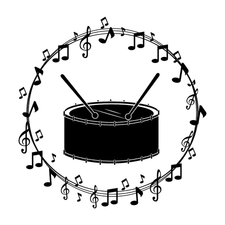 border musical notes with drump instrument musical vector illustration