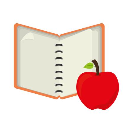 open notebook: open notebook with apple fruit vector illustration Illustration