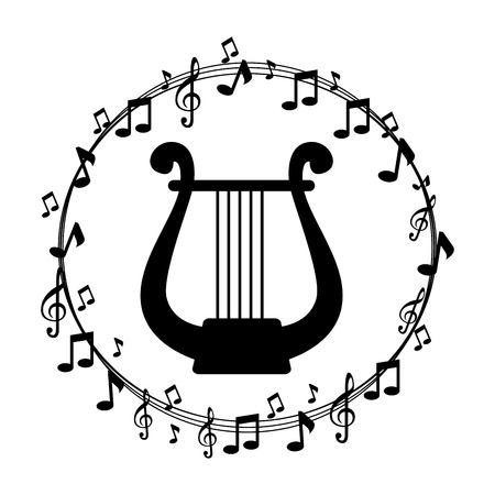 border musical notes with harp instrument musical vector illustration Stock Photo