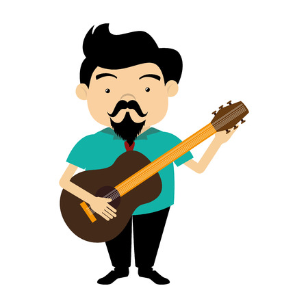 colorful silhouette singer with acoustic guitar vector illustration
