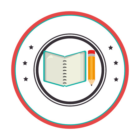 open notebook: circular border with starts and open notebook spiral with pencil vector illustration Illustration