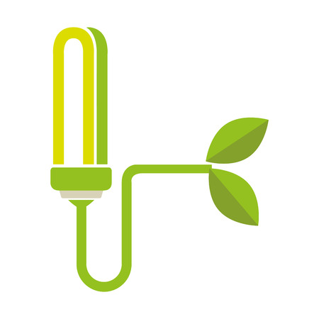 colorful moder light bulb connected to plant vector illustration