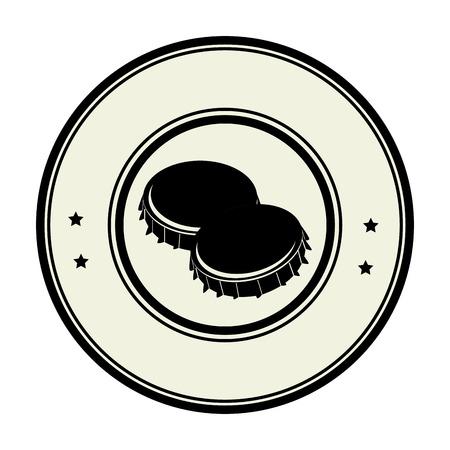 metal monochrome: monochrome circular frame with metal beer lid vector illustration