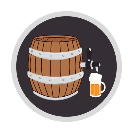 color circular frame with beer barrel and glass vector illustration
