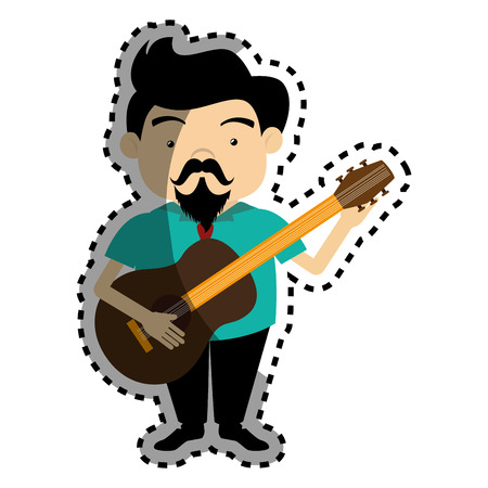 rock guitarist: sticker colorful silhouette singer with acoustic guitar vector illustration Stock Photo