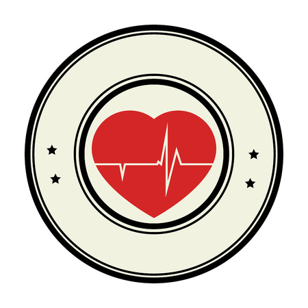 systole: color circular emblem with heart with line vital sign vector illustration