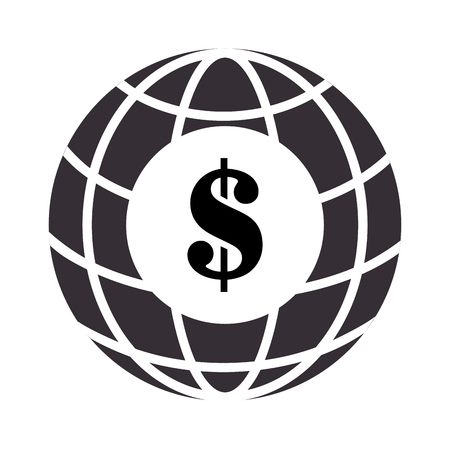 sphere with meridians and mesh with dollar symbol vector illustration Illustration