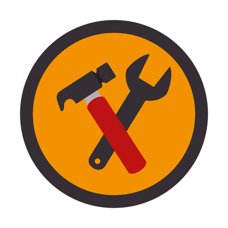 color circular emblem with hammer and wrench vector illustration Illustration