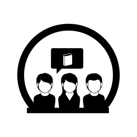 monochrome circle with students thinking in book vector illustration Illustration
