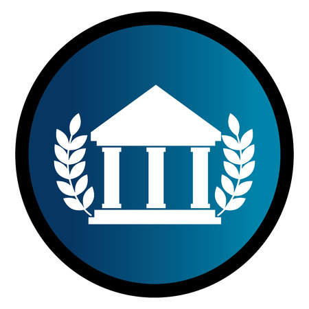 circular emblem with parthenon and olive branchs vector illustration Illustration
